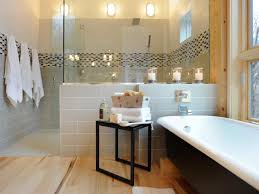 image bathtub decor: black and white bathroom with pops of yellow