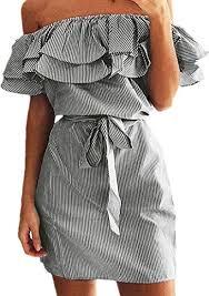 Shele <b>Womens</b> Summer <b>Dresses Off</b> Shoulder Striped Ruffles ...