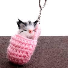 <b>Mini</b> Kawaii <b>Plush Real</b> Sleeping cat Fur keychain Soft Toys Cute ...