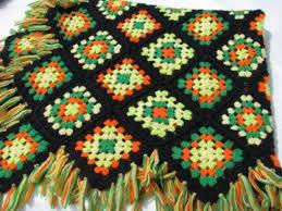 Crocheted Multi Colour Afghan Granny <b>Square</b> Wool Afghan ...