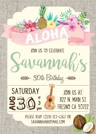 luau hawaiian party invitation tiki party invitation adobe hawaiian luau birthday party invitation invite watercolor flowers shabby chic ukulele pineapple coconut aloha