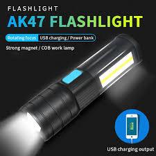 AK47 Zoomable <b>T6</b>/<b>L2 LED Multifunction</b> Flashlight COB Work lamp ...