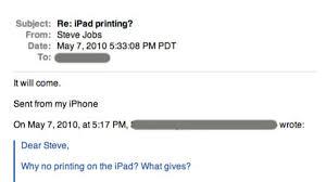 <b>Steve Jobs</b>: iPad <b>Printing</b> Will Come