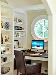 an ox eye window can become a focal point of a tight alcove home office alcove contemporary home office