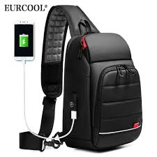 "EURCOOL 2019 NEW <b>Men Chest bag</b> for 9.7"" iPad USB Charging ..."