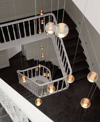 long stairway g4 led luminaria home hanging crystal ball pendant lights stairwell pendant lamp project el banner5 stair lighting