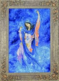 maestro farshchian miniaturist treasure morning moon wool persian tableau rug pictorial carpet