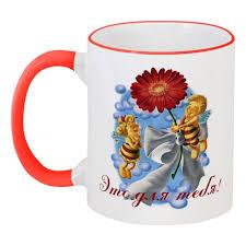 Кружка с цветной ручкой и ободком Пчёлки и цветок #2242644 в ...