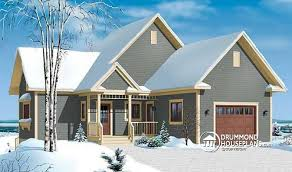 House plan W B V detail from DrummondHousePlans comfront   BASE MODEL Covered terrace  to bedroom  walkout basement  chalet