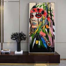 <b>Abstract Indian</b> Woman Canvas Paintings On The Wall Art Canvas ...