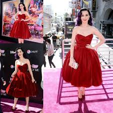 <b>Katy Perry</b> Hot <b>Red</b> Velvet Sweetheart Pleats <b>Tea Length</b> Celebrity ...