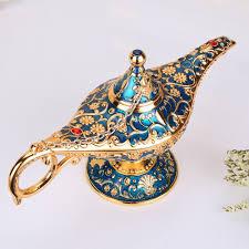 <b>Metal</b> Carving <b>Aladdin Magic Lamp</b> Retro Figurine Tin Alloy ...