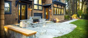 outdoor fireplace paver patio: bend oregon paver patio with fireplace