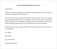 acknowledgement letter templates – free samples  examples    letter of email acknowledging registration for a course example