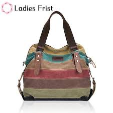 Women Casual Stripe Canvas <b>Handbags</b> Leather Shoulder <b>Bag</b> ...
