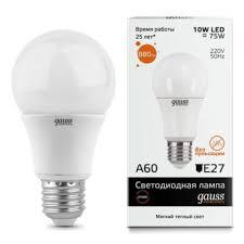 Светодиодная <b>лампа Gauss Elementary LED</b> A60 E27 10W 3000K ...