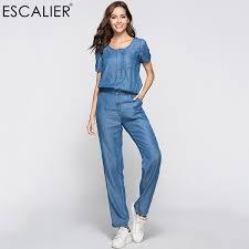 <b>Escalier</b> Womens Denim Jumpsuit Blue Long Pants 2018 Fashion ...