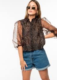 <b>Womens Sheer</b> Animal Print Sleeved <b>Summer</b> Shirt ...