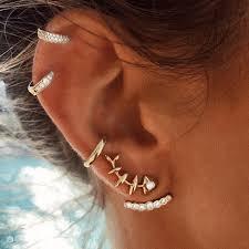 <b>Crazy Feng</b> 4Pcs/lot Punk Fish Bone Stud Earrings Set For Women ...