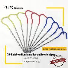 TiTo Titanium <b>Tent stake</b> 6PCS / 10PCS <b>Outdoor camping</b> rainbow ...