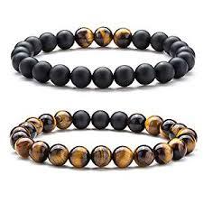 Hamoery Men Women 8mm Tiger Eye Stone Beads Bracelet Elastic