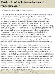 top  information security manager resume samples       fields related to information security manager