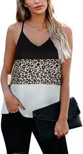 BMJL Women's Leopard <b>Print</b> Top Cute Spaghetti <b>Strap</b> Tank ...