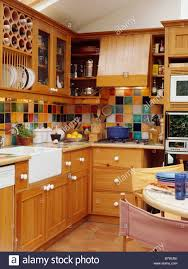 Multi Coloured Kitchen Tiles Multi Coloured Wall Tiles In Kitchen Dining Room With Fitted Pine