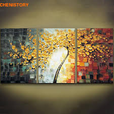 Unframed 3 Panels Yellow Rich Tree Palette Knife Painting <b>Hand</b> ...