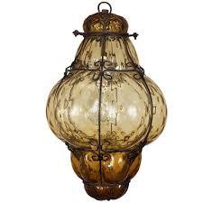 vintage hand blown seguso murano amber glass cage pendant light at 1stdibs amber pendant lighting
