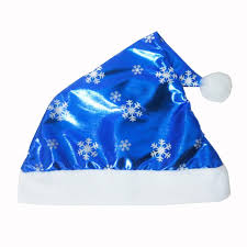 <b>1pc Christmas</b> Party Santa Hat Blue Cap for Santa Claus Costume ...