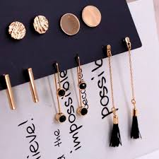 <b>5 Pairs</b>/set <b>Women Fashion</b> Long Tassel Round Stud <b>Earrings</b> Set