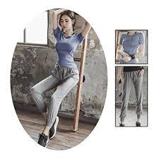 XYAIPR <b>Women's Yoga Set</b>, <b>Solid</b> Color, Slim Fit, Short Sleeve T ...