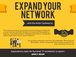 axilor ventures linkedin 10 reasons to apply to our accelerator program reason 4 expand your network applications open for summer 17 batch apply now axilor com programs