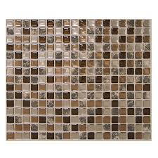 stick wall tiles quotxquot: youll love the mosaik minimo roca x peel amp stick wall tile in brown marble amp bronze at wayfair great deals on all kitchen amp dining products with free