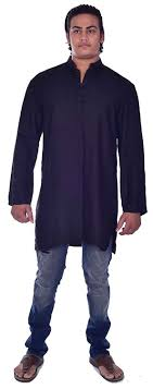 Lakkar Haveli Indian Pashmina Rayon <b>Men's</b> Kurta Shirt Handloom ...