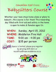 red cross babysitters course at fire hall middleton  view larger poster