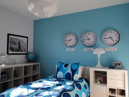 fascinating three wall clock decor and white furniture as blue room idea blue room white furniture