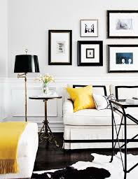 black and white and yellow black and white home office