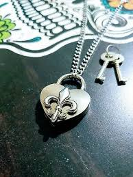 Fleur De Lis Heart Lock <b>Necklace</b> Day <b>Collar Stainless Steel BDSM</b> ...