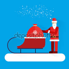 santa claus presents gift bag and sleigh new year holiday santa claus presents gift bag and sleigh new year holiday greeting card banner design template vector illustration merry christmas
