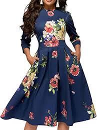 Simple Flavor Women's Floral Vintage Dress Elegant ... - Amazon.com