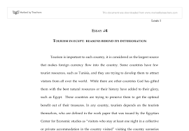 tourism in egypt  reasons behind its deterioration   university    document image preview