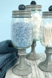 glass jars bathroom decorativeglassjarsbathroom mason jars candle stick holders spray paint and cool little knobs oh t