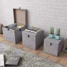 Shop vidaXL <b>Storage Box Concrete 3</b> pcs Square Gray MDF - grey ...