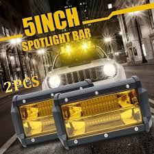 <b>2PCS</b> 5INCH 72W Car <b>LED Work Light</b> Yellow Spot Bar Offroad Fog ...