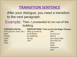 fictional narrative transition sentence