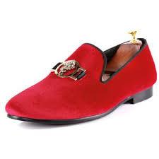 <b>Harpelunde Men</b> Velvet Slippers <b>Buckle Strap</b> Red Driving Loafers