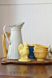 southern style french country kitchen vintage enamelware savvy southern style breakfast room vintage french farm table bread bo