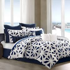 black white and blue geometric bedding with solid navy european